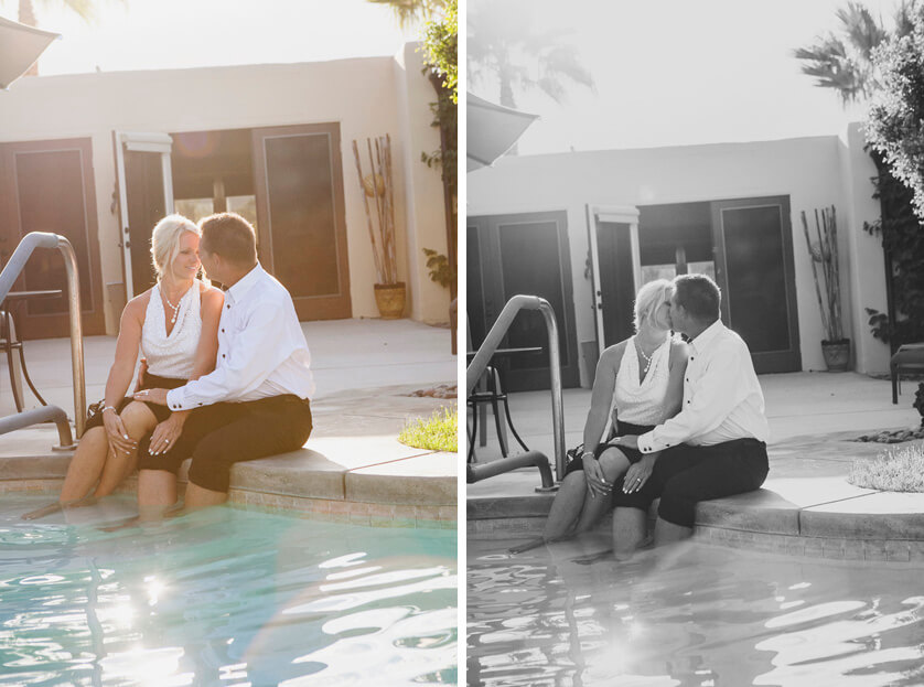 Mid-Century modern photography Palm Springs. Backyard elegant and fun fall elopement