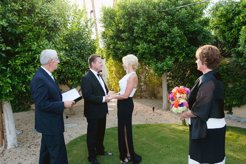 Intimate wedding photographs, wedding ceremony Palm Springs, Private Estate, California