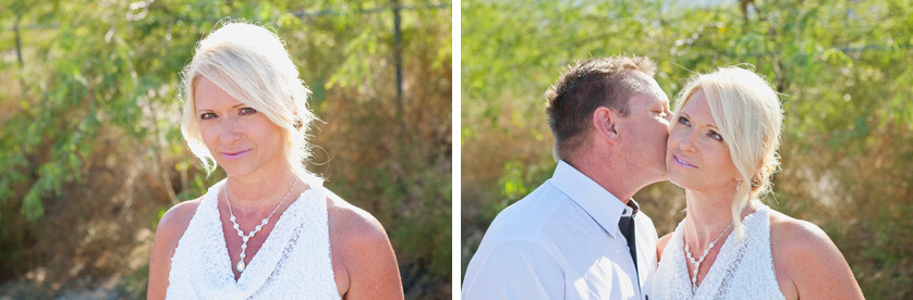 Wedding elopement portraits Palm Springs California Bride and Groom before the ceremony