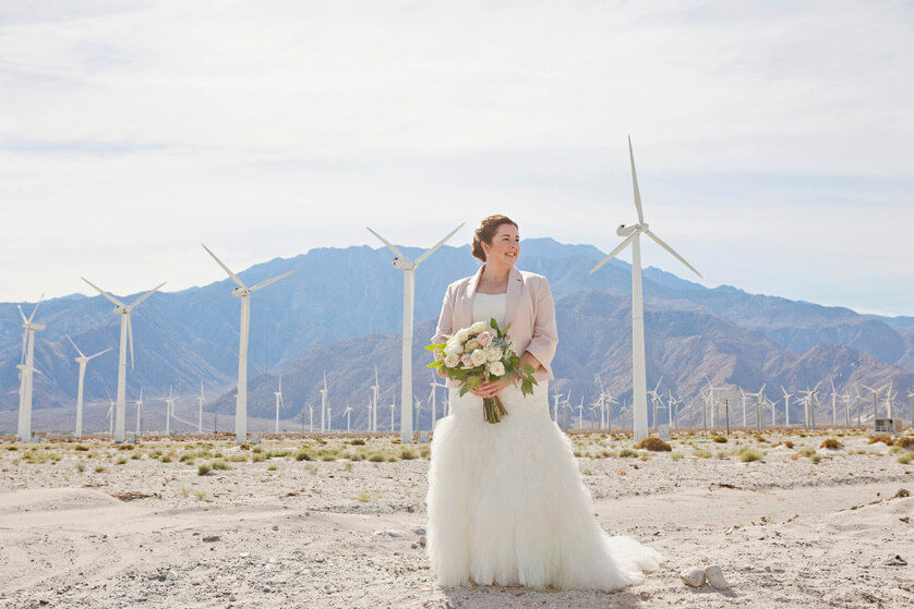 Bride at wind turbines Palm Springs