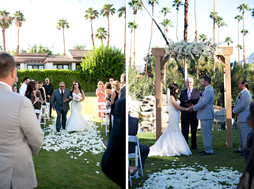 Bride walks down the aisle, couple stand at alter