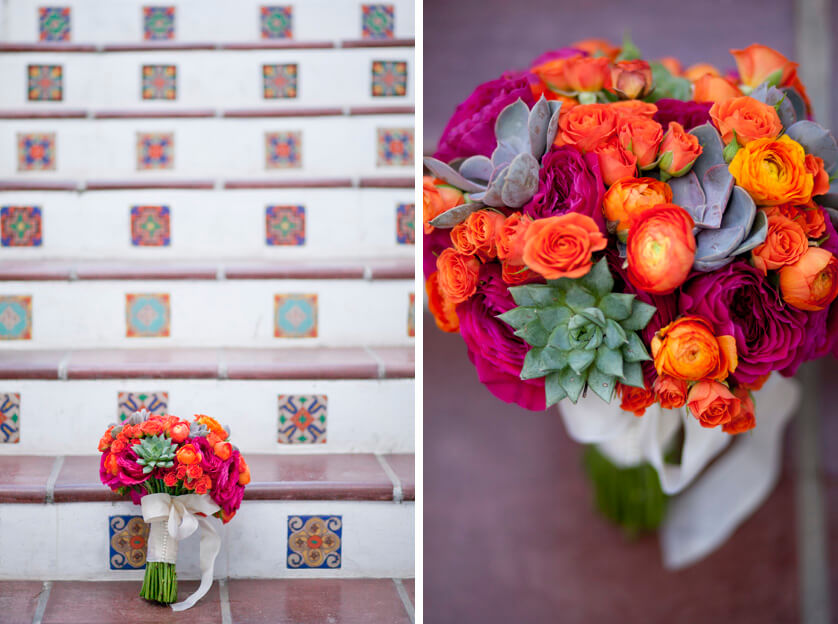Bridal bouquet in orange, green and hot pink