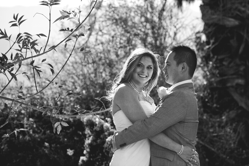 Black and White photograph of bride and groom