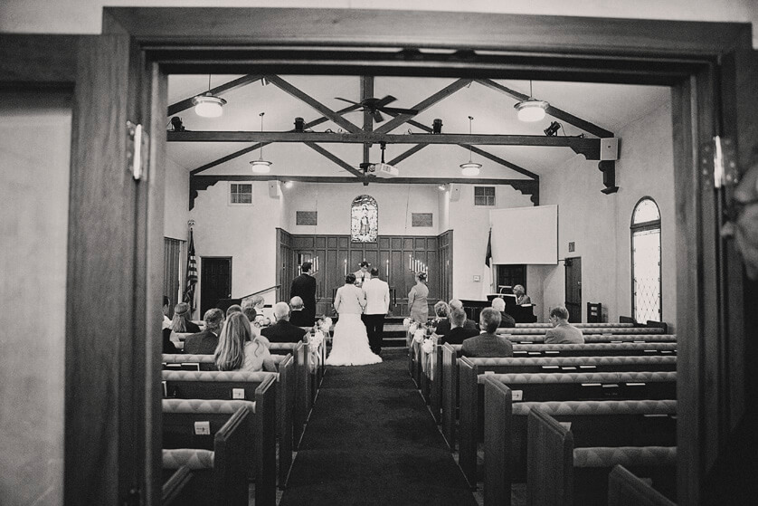 View of the ceremony from the back of the church
