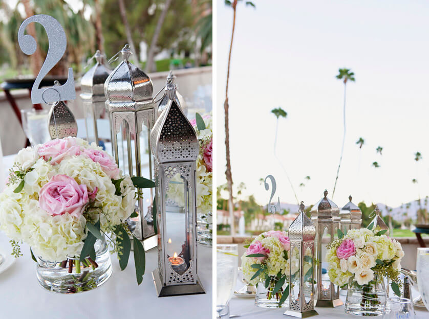 Table centerpieces, Roses, peonies and Moroccan lanterns