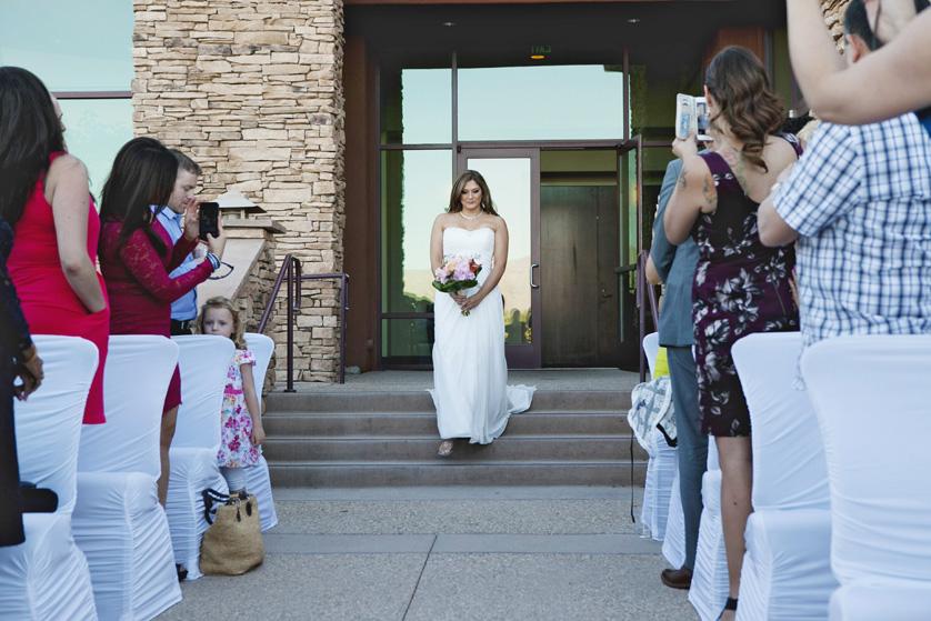 The nervous bride walks down the aisle