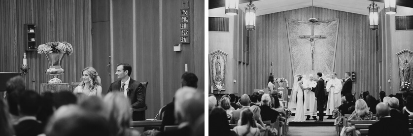 Black and white photographs inside church