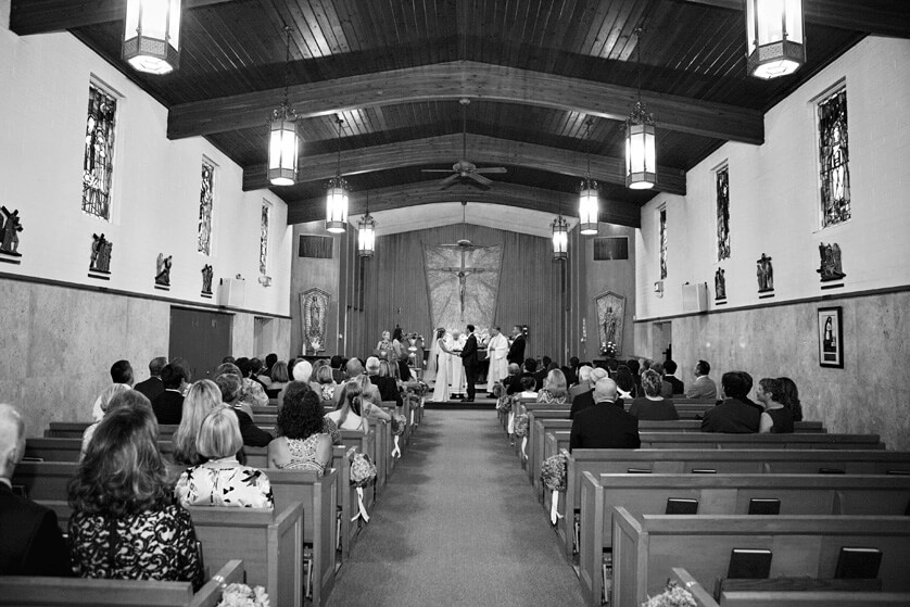 Church wedding ceremony in black and white