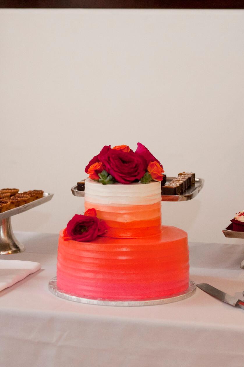 Ombre orange wedding cake