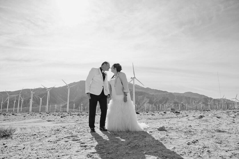 Black and White dramatic wedding portrait