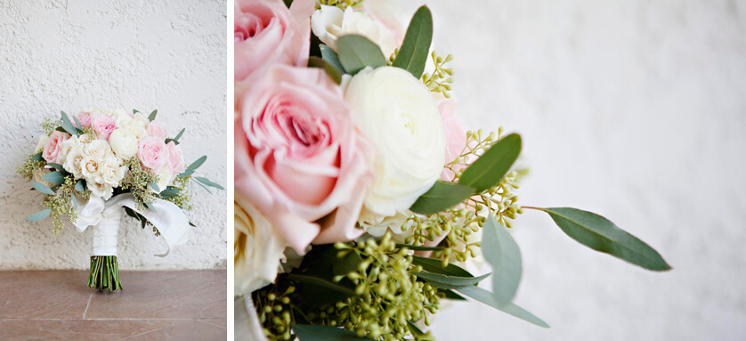 Brides bouquet in whites and pinks and greens