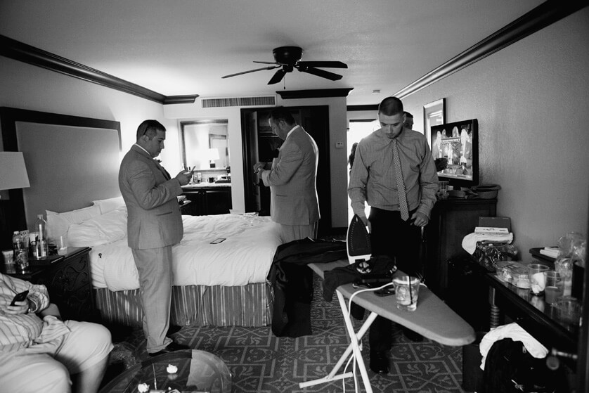 Grooms room prep in Black and White