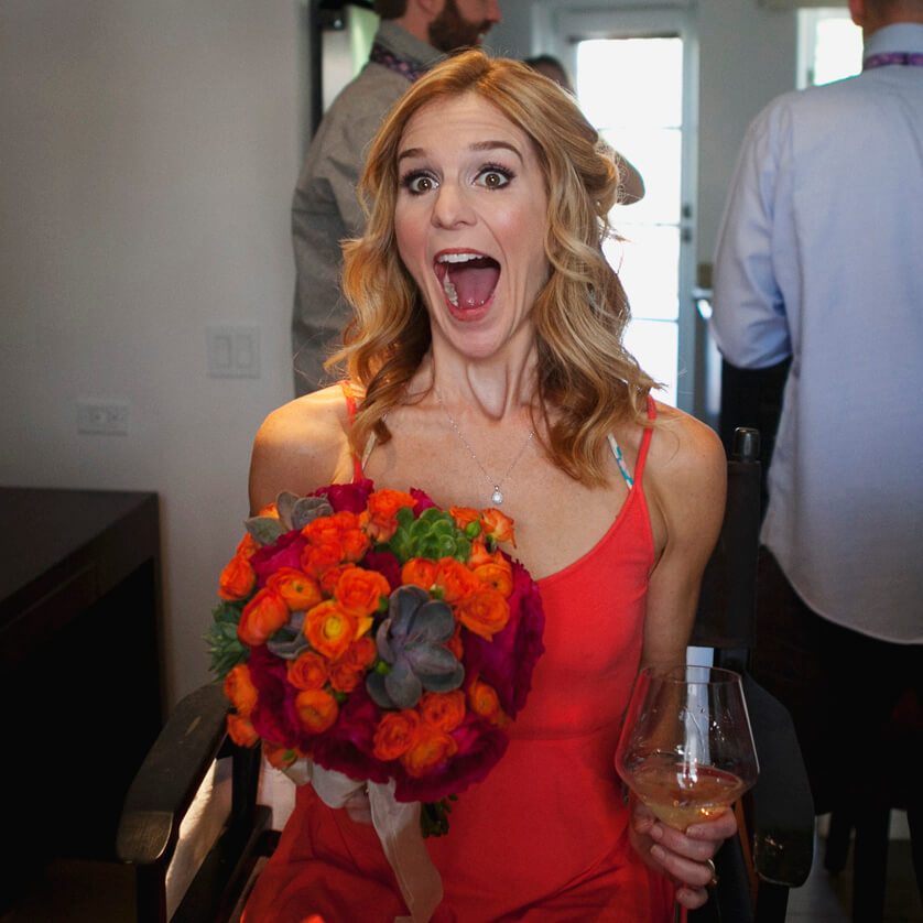 Bride see's her bouquet for the first time