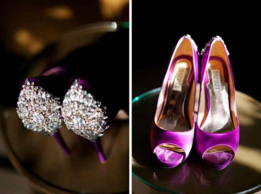 Purple Badgley Mischka brides shoes