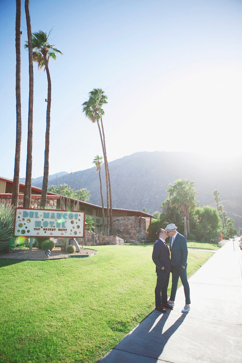 Palm Springs LGBT Wedding downtown portraits