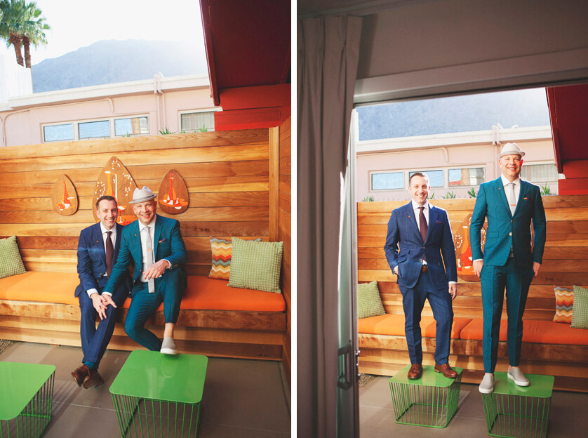 Bespoke mens suits palm springs wedding couple