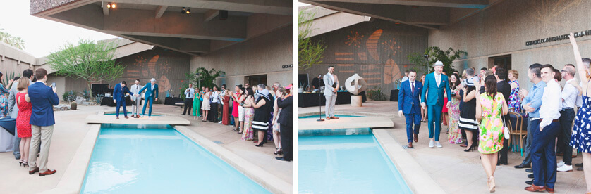 Courtyard wedding ceremony at Palm Springs Museum in California