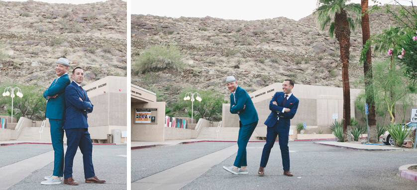 Wedding portraits outdoors in downtown Palm Springs