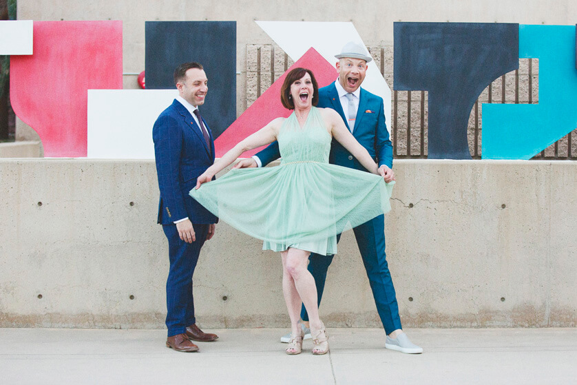 Fun portraits of friends at same sex wedding