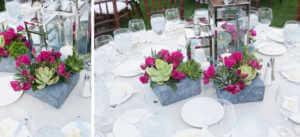 Centerpieces, Table decor, Stone, Fuchsia roses, succulents