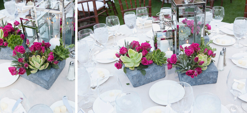 Centerpieces, Table decor, Stone, Fuchsia roses, succulents