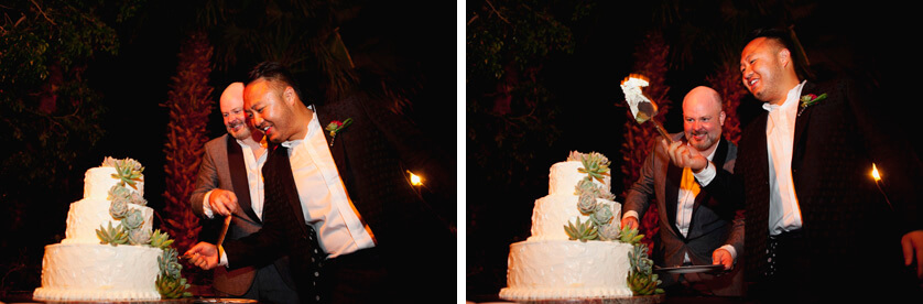 Cake Cutting, Same Sex Palm Springs Wedding