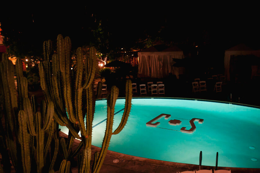 Night time at Spencers Pool in Palm Springs
