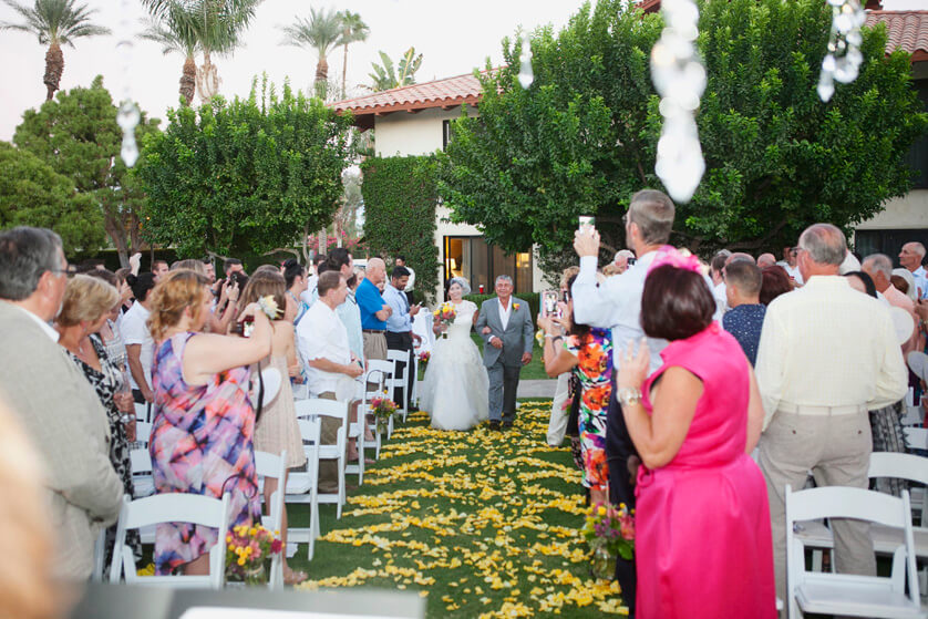Bride enters, father/daughter, Miramonte Resort, Indian Wells