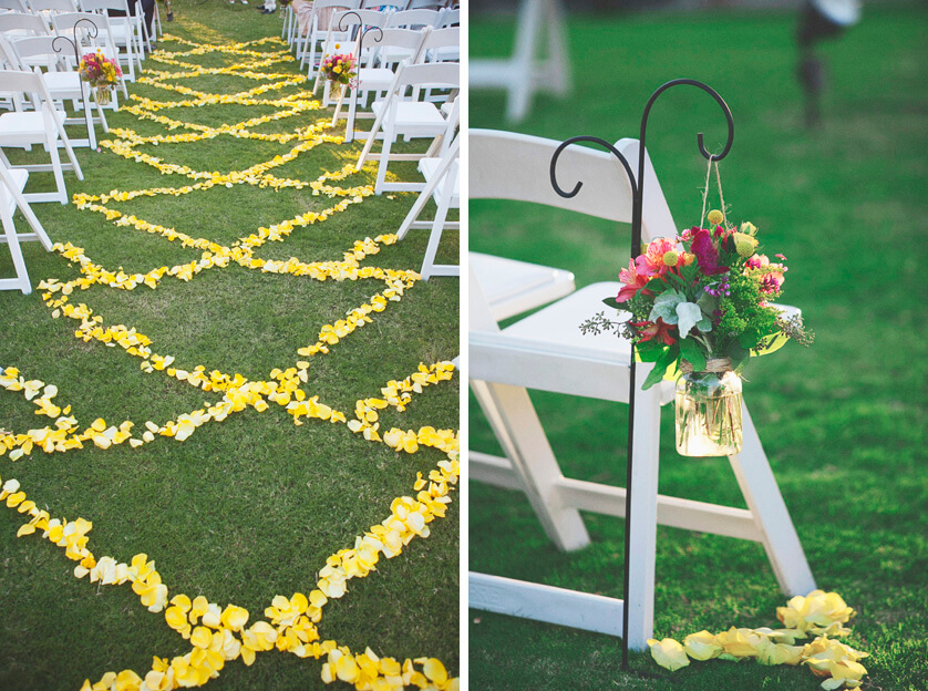 Aisle decor, flower petals, rustic, yellow, color, flowers, weddings, nuptials, Cali weddings, photography, PS, Miramonte