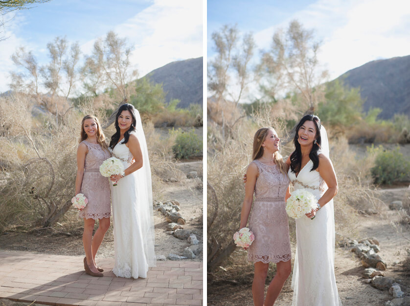 Bridal portrait, bride, happy, bridesmaid, best friend, flowers, fun, funny, sweet, desert, Palm Desert, California, Cali
