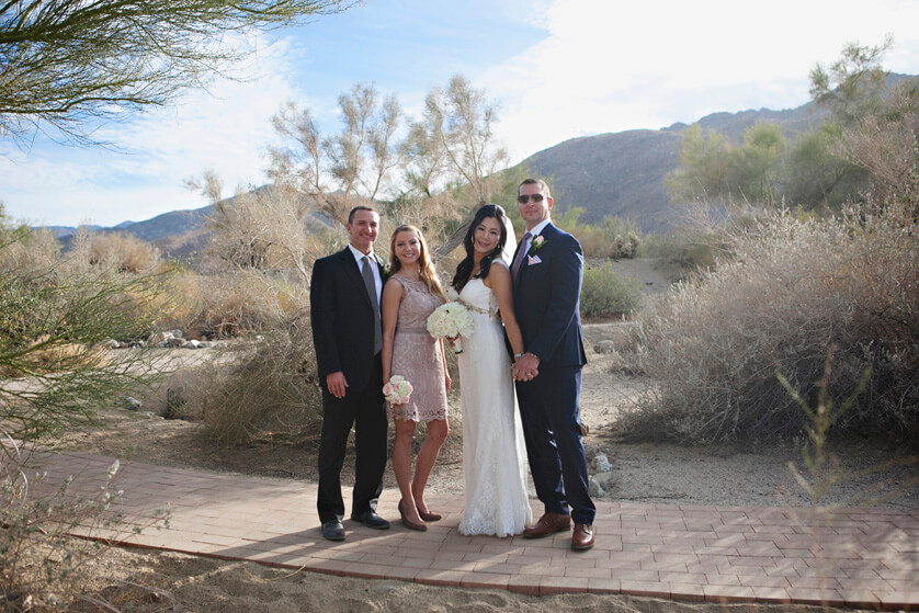 Bridal party, casual pose, desert chic, elopement friends, desert portraits, fun, sweet, bridal party, bridal, groom