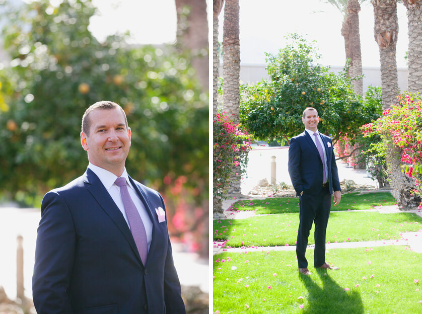 Suit, elopement Suit, Groom, Tie, Purple tie, Hyatt, Hyatt Indian Wells, Hotel, Portrait, groom portrait, Sunny, photography, professional photography