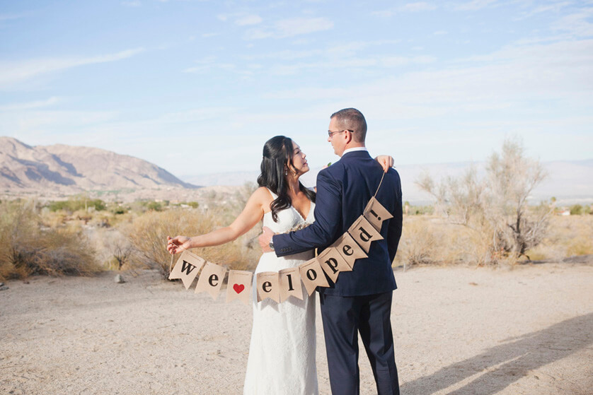 Elopements, Elope, wedding, DIY, Burlap, sign, Elopement sign, desert ceremony, love, palm desert