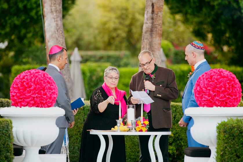 Palm Springs, Ceremony, Decor, Pink, magenta, flowers, florals, Wedding, same sex, Artisan Events,