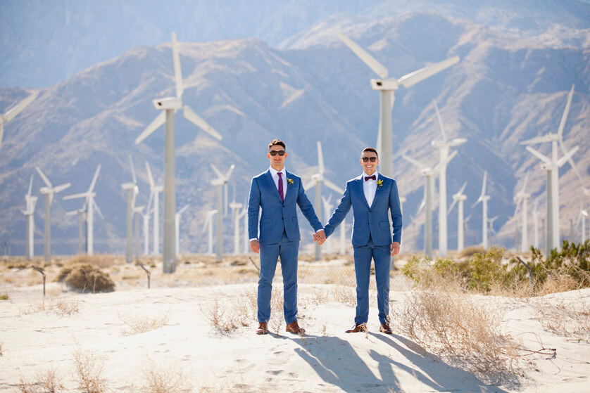 Portraits, Palm Springs, California, Same Sex, Wedding Photographer, Windmills, Iconic PS