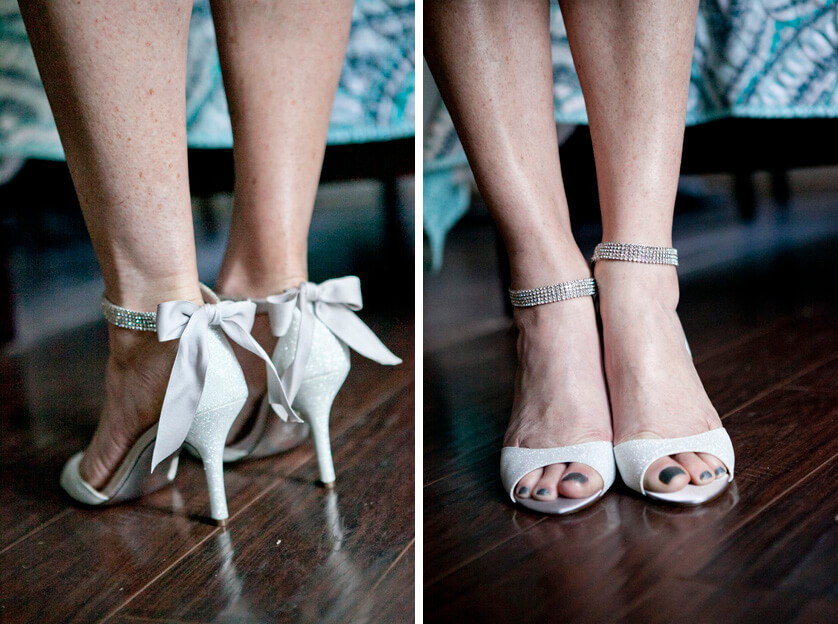 Details of the brides shoes in Riverside, California