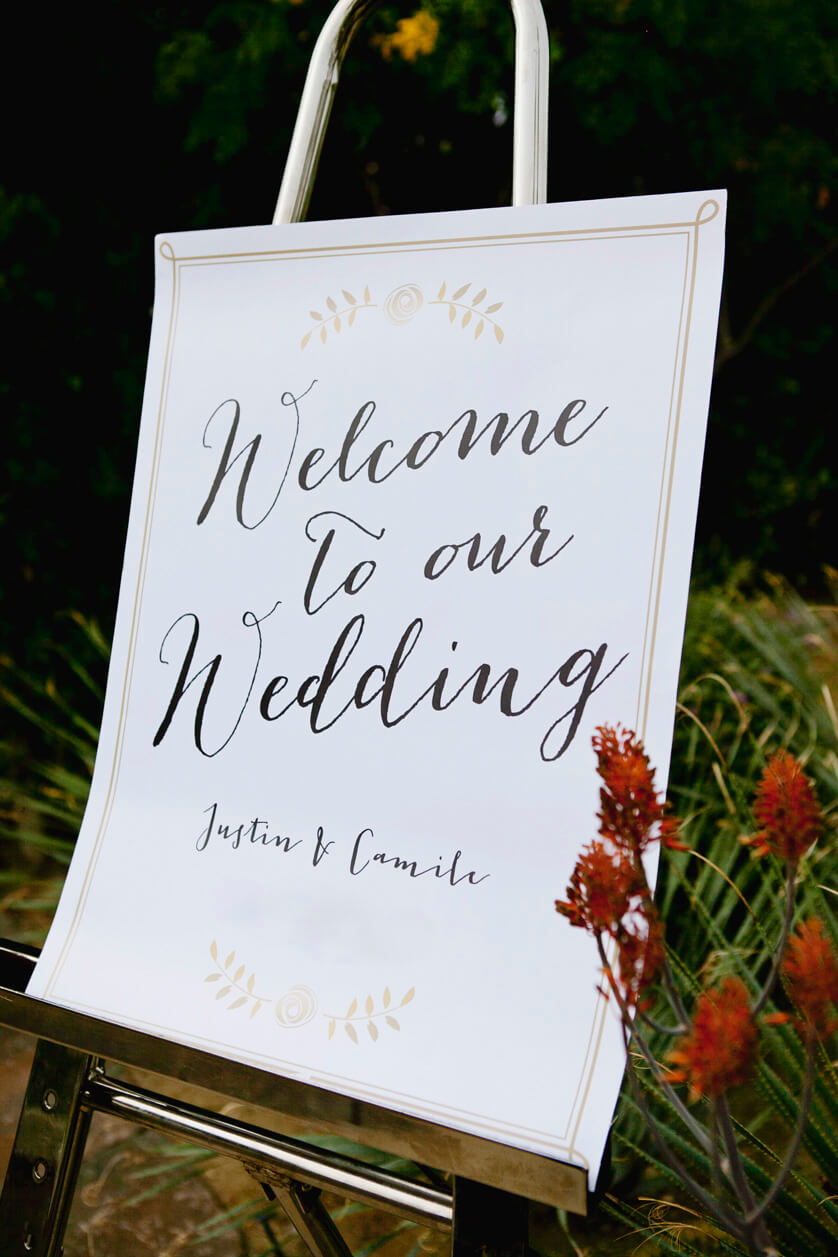 Welcome board, Wedding announcement, Ritz Carlton Wedding, Ceremony