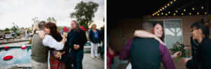 Documentary captures of the couple greeting their friends