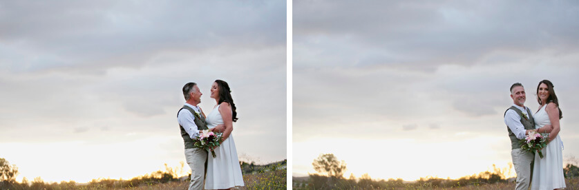 Beautiful sunset portraits on the wedding day