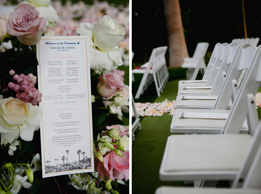The program and seating at this Ritz Carlton wedding, lovely shades of pink and white and green.