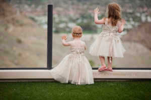 Flower girls in their adorable dresses in Rancho Mirage California.