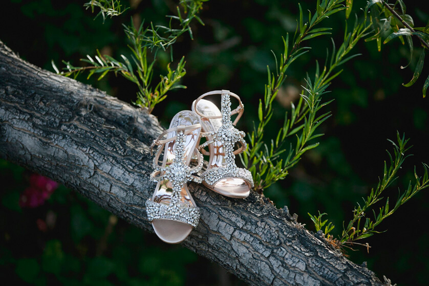 Badgley Mischka brides shoes with lots of sparkle