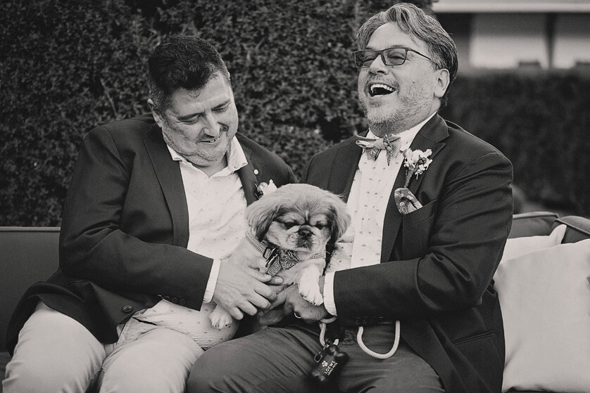Fun portrait/candid moment with the grooms and their dog