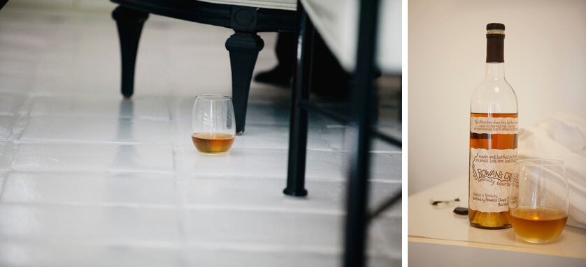 Details of the grooms favorite bourbon