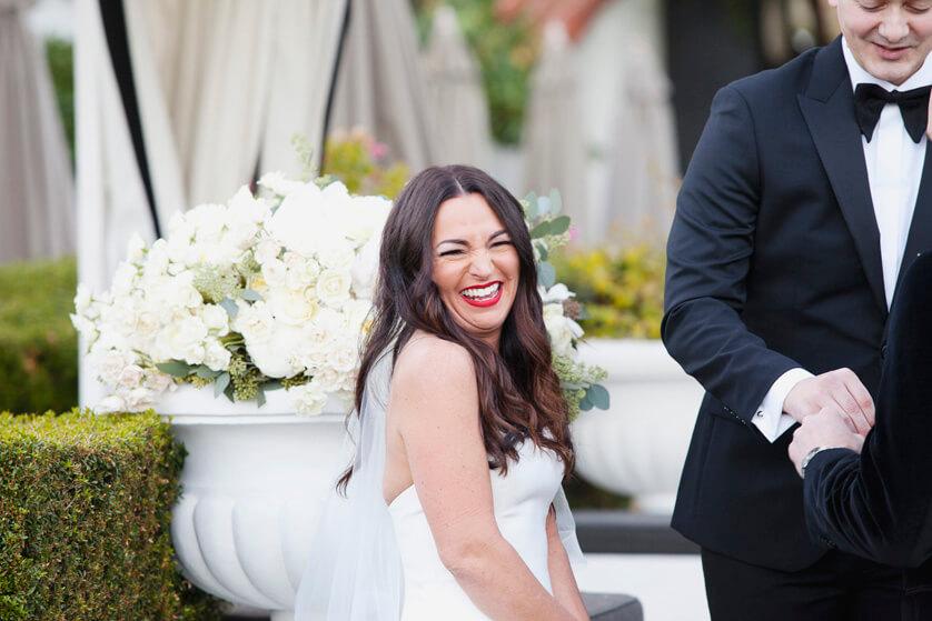 Beautiful reaction shot at wedding ceremony