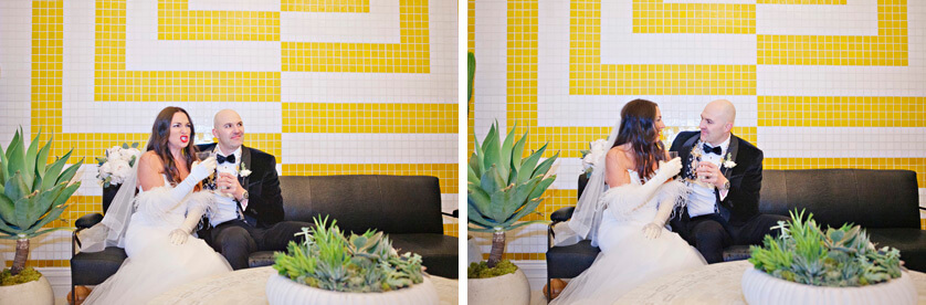 The iconic yellow and white wall in the Hotel lobby