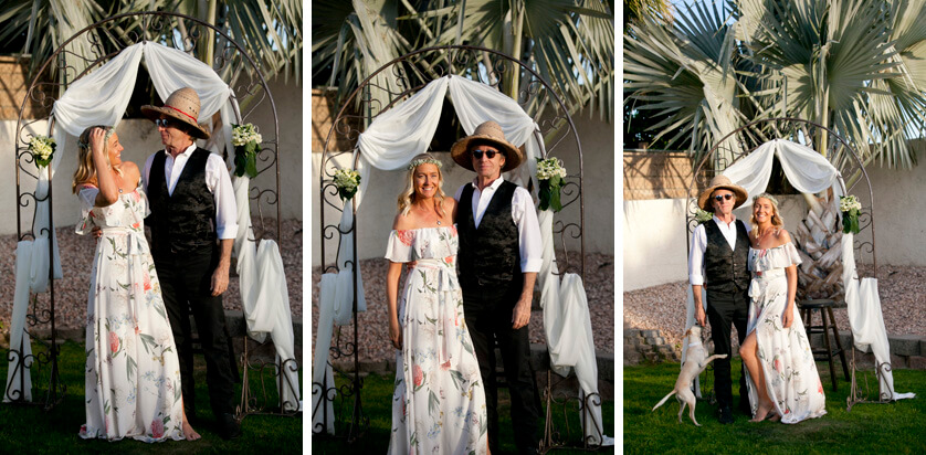 Relaxed wedding photos under the home made arch