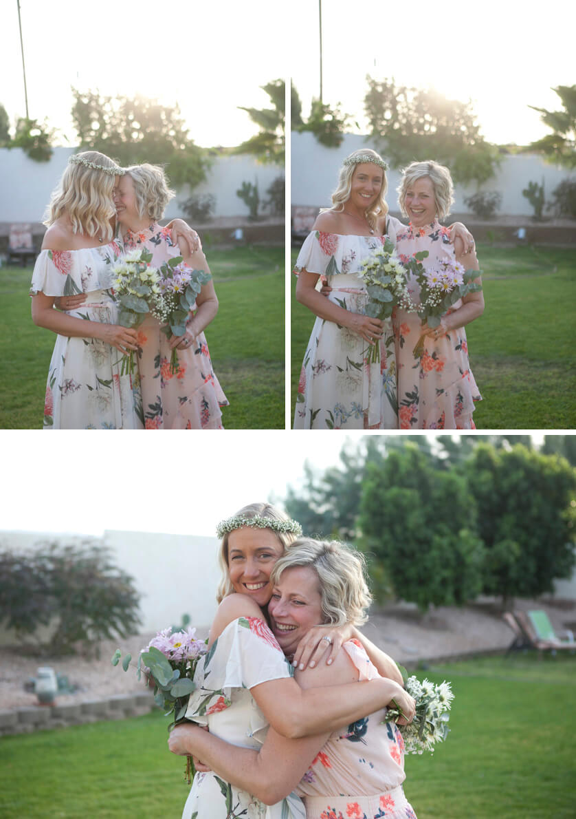 Hugs from best friend on her wedding day