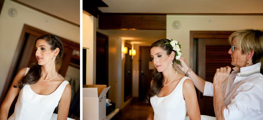 Bride gets final hair and makeup touchups at the Ritz Carlton Rancho Mirage